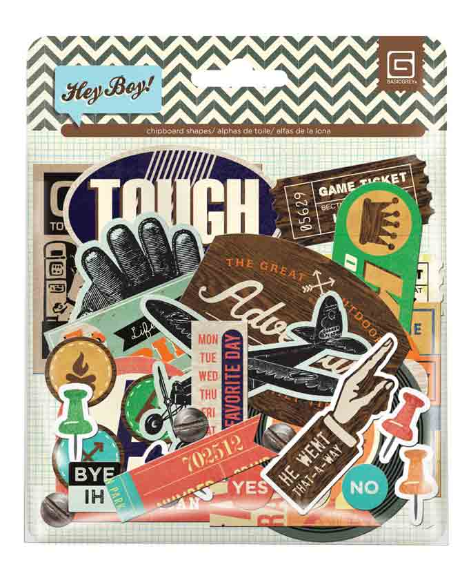 BasicGrey Hey Boy Chipboard Stickers