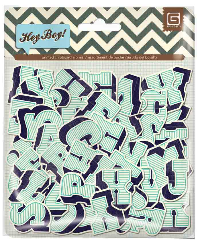 BasicGrey Hey Boy Chipboard Alphabet