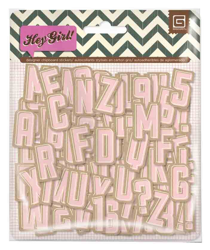 BasicGrey Hey Girl Chipboard Alphabet
