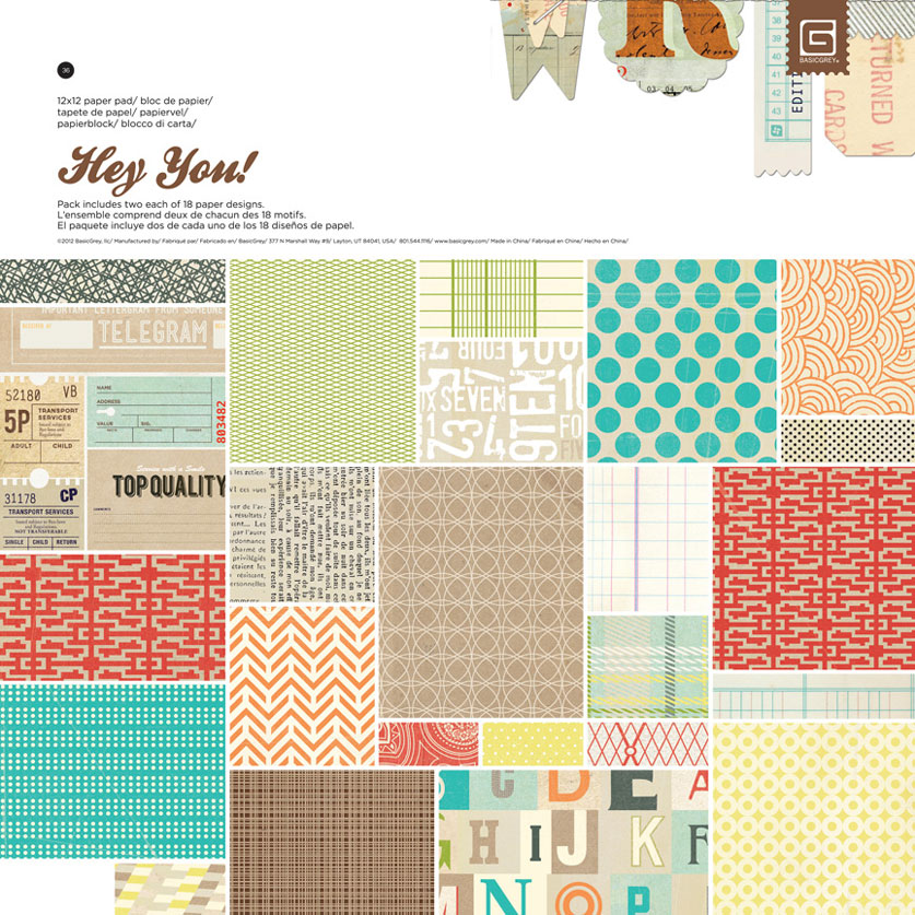 BasicGrey Hey You 12x12 Paper Pad