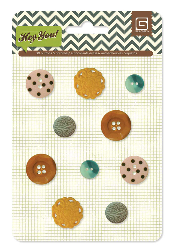 BasicGrey Hey You Vintage Buttons