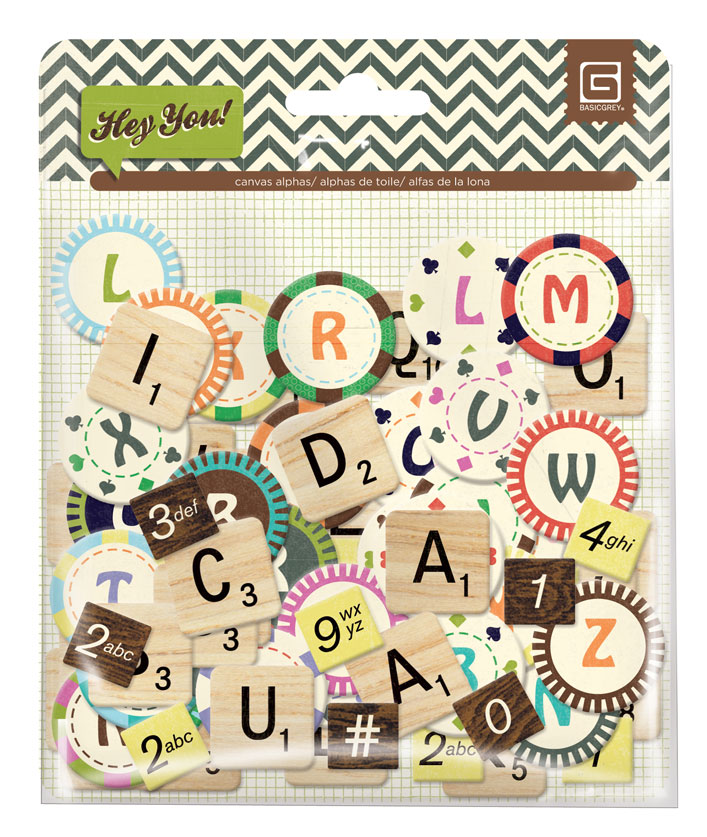 BasicGrey Hey You Chipboard Alphabet