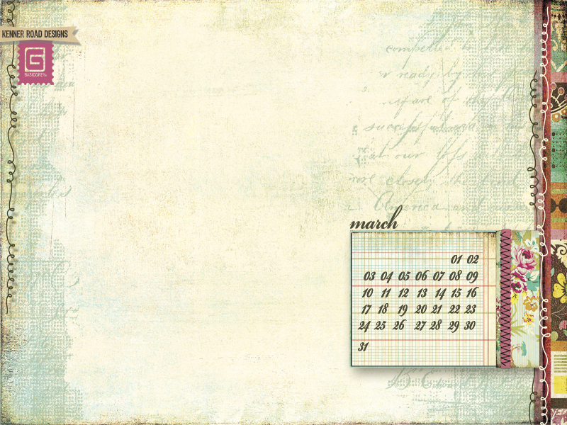 BasicGrey March Desktop Calendar